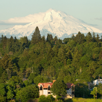 home in front of mt hood home in Lake Oswego